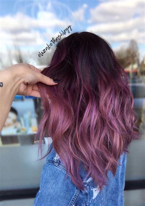 Balayage Mermaid Hair Black To Magenta Ombré