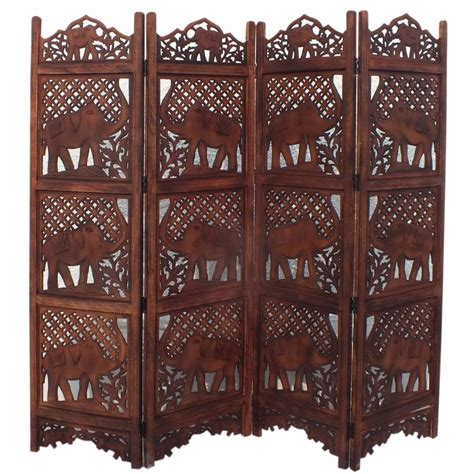 benzara carved elephant design foldable 4 panel wooden room divider brown bm34823 the