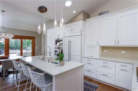 contemporary kitchen  pental sparkling white quartz