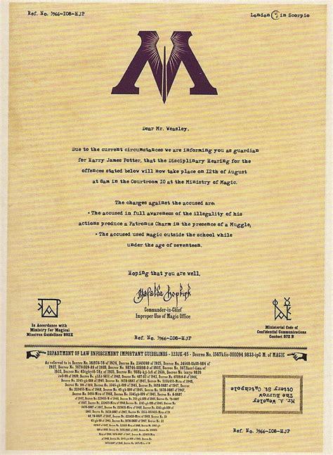 hogwarts acceptance letter harry potter wiki fandom wizengamot letter to harry potter harry potter wiki 44350