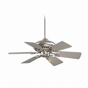 Ceiling fans without lights minka : Ceiling fan without light in brushed steel finish f