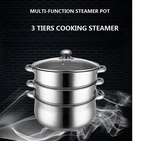 free shpping 4 layers stainless free shipping cooking steamer pot 14l stainless steel 3