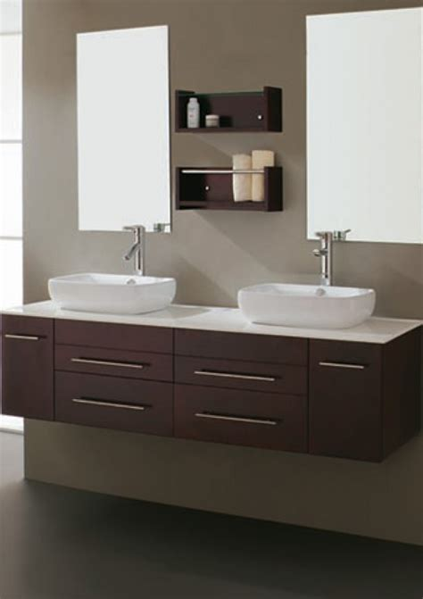 Though a vessel sink is often considered modern, you can see from this collection that you can also find styles ranging from natural looking vines twined together. 59 Inch Modern Espresso Double Vessel Sink Bathroom Vanity