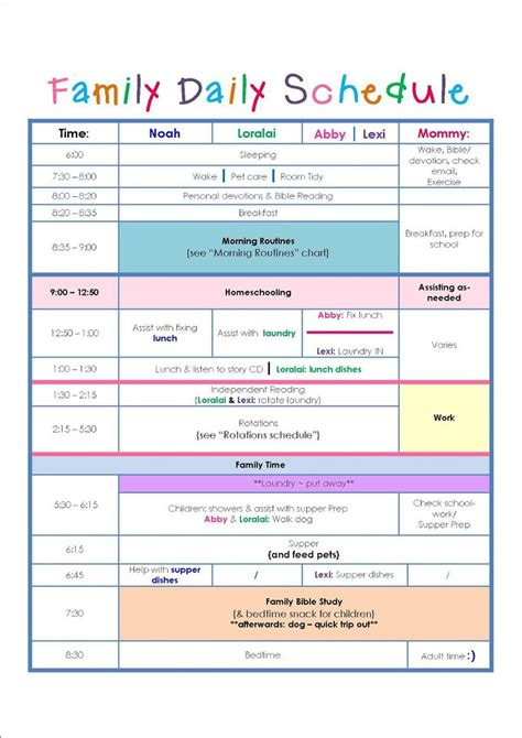 family daily routine schedule template home schedule