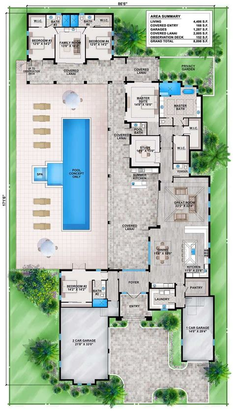 florida house plans with pool best 25 house plans with pool ideas on pinterest one floor house plans house layout plans