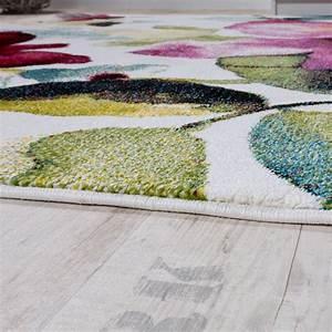 tapis moderne effet toile tapis motif fleurs colore With tapis moderne coloré