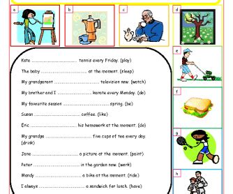 Alluring Worksheets Present Continuous Tense Also 184 Free Present Simple Vs Present Continuous