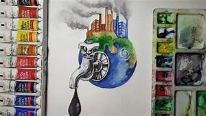 How To Draw Save Fuel For Better Environment Drawing And