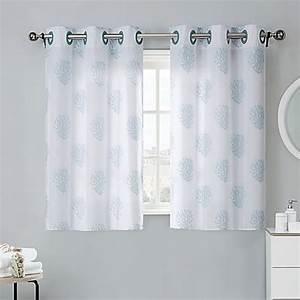 Coral Reef 38-Inch Bath Window Curtain Tier Pair in Grey