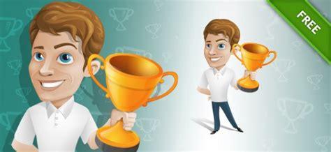 Cup Winner Cartoon Man Vector Vector