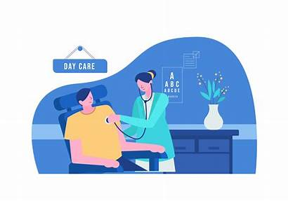 Doctor Vector Clinic Illustration Healthcare Flat Checking