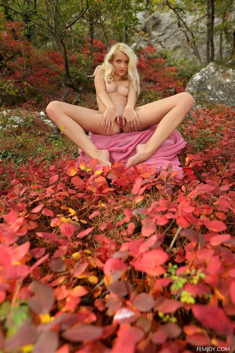 Stunning Naked Girl Adelia Posing In The Autumn Woods By