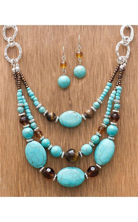 western products semi stone turquoise beaded set