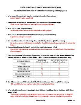 personal finance worksheet answers nidecmege