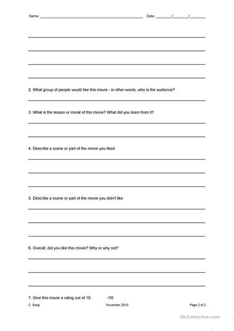 Movie Review Worksheet Worksheet  Free Esl Printable Worksheets Made By Teachers