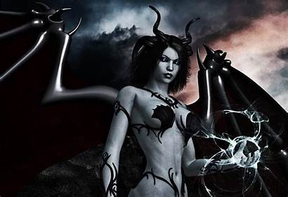 Demon Wings Dark Horns Magic Female Wallpapers