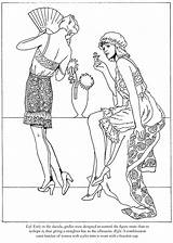 Coloring Roaring Twenties Pages Dover Fashions Publications Adult Flappers Template sketch template