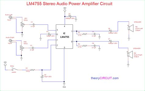 lm stereo audio power amplifier circuit