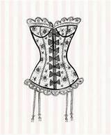Corset Corsets Lingerie Lace Dessin Clip Retro Coloring Mannequins Dibujo Corse Es Shabby Google Illustration El Sketch Zentangle Doodles Dresses sketch template