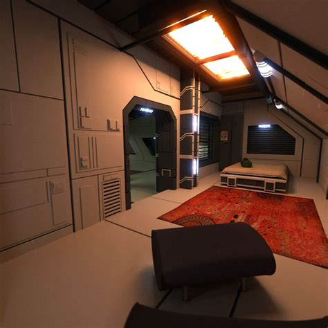 sci fi apartment scene   model obj ds blend cgtradercom