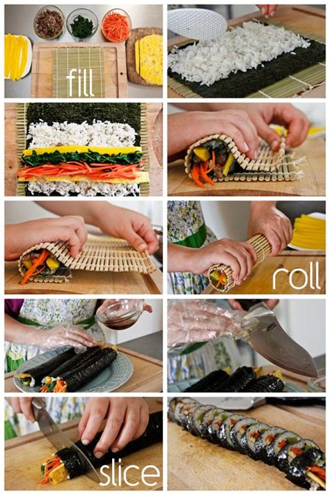 how to make kimbap beef sushi and rice on pinterest