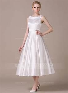 forme princesse col rond longueur mollet satine robe de With robe de mariée longueur mollet