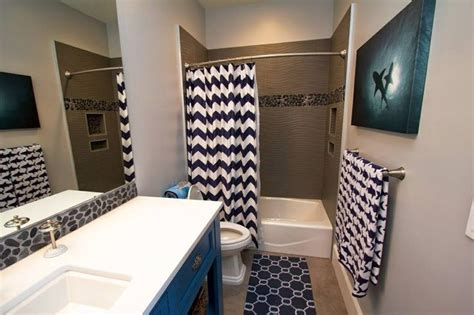 shark themed bathroom with navy blue and white chevron shower curtain shark picture shark