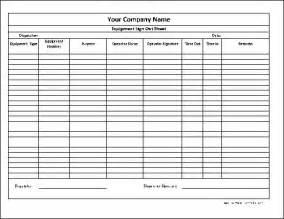 Employee Equipment Sign Out Sheet