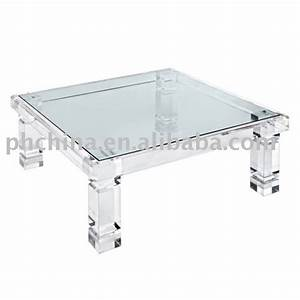Clear acrylic adrienne coffee table with glass topclear for Clear lucite acrylic coffee table
