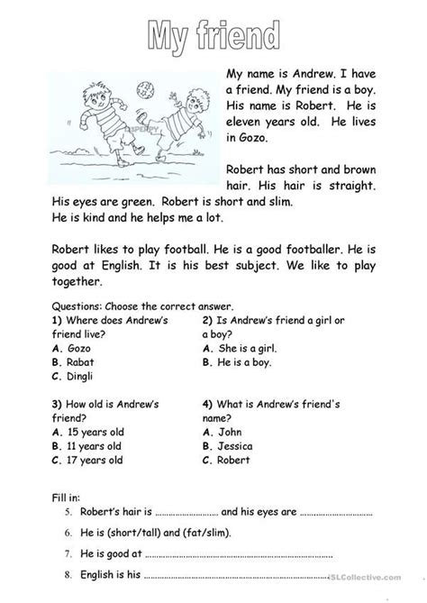 friend elementary reading comprehension reading
