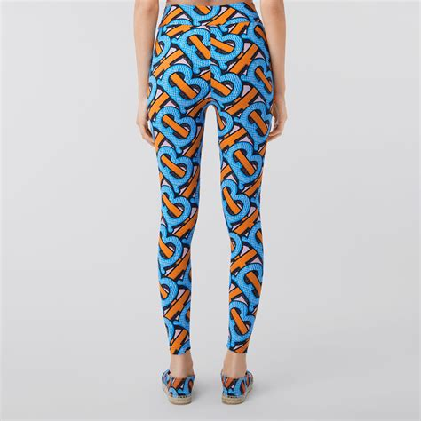 monogram print stretch nylon leggings  bright cobalt women burberry united states