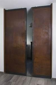 Porte Placard Verriere : portes coulissantes ox idee mobilier industriel acier lyon metallerie layout ~ Melissatoandfro.com Idées de Décoration