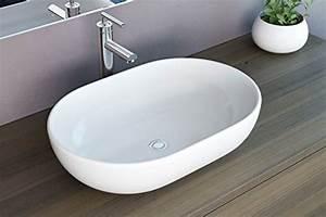 Waschbecken Oval Aufsatz : neg waschbecken uno34a oval aufsatz waschschale waschtisch wei mit hohem rand und nano ~ Orissabook.com Haus und Dekorationen