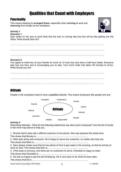 Work Readiness Worksheets Pdf  Worksheet Example