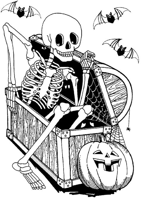 skeleton  coffer halloween adult coloring pages