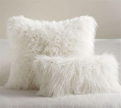 faux fur pillow mongolian faux fur pillow cover ivory pottery barn