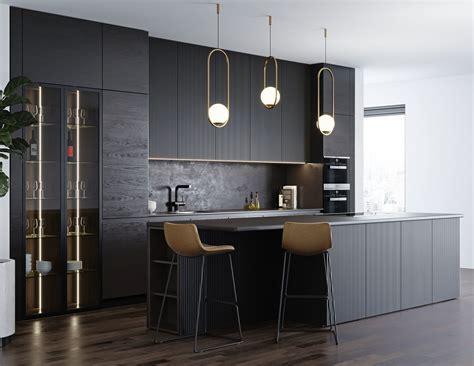 black modern kitchen 3d cgtrader