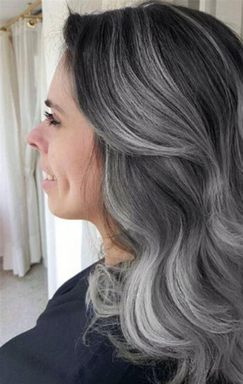 dark brown hair  gray highlights google search