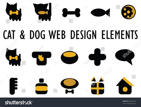 cats dogs other pets accessories icons stock vector 64630273
