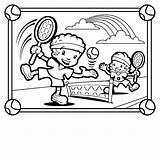Coloring Pages Playing Tennis Sports Clipart Children Printable Sandbox Clip Play Childrens Template Popular Comments sketch template
