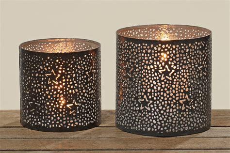 windlicht schwarz metall metall windlicht sterne teelichthalter kerzenhalter in schwarz