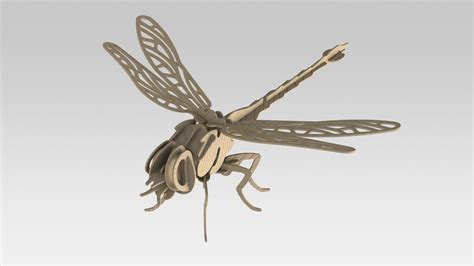 laser cut wooden dragonfly  model mm dxf file files cnc