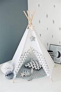 Tipi Chambre Bébé : tipi d indien tipi wigwam blanc zigzag gris enfant pinte ~ Teatrodelosmanantiales.com Idées de Décoration