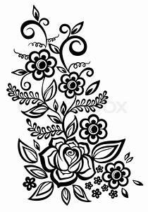 Verspielter Floraler Design Stil : schwarz wei en bl ten und bl tter floral design element im retro stil vektorgrafik colourbox ~ Watch28wear.com Haus und Dekorationen