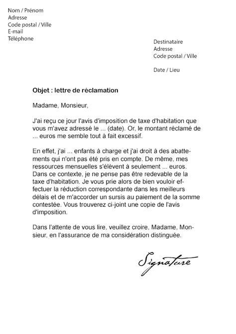modele lettre reclamation taxe habitation erreur lettre de r 233 clamation imp 244 t taxe d habitation mod 232 le