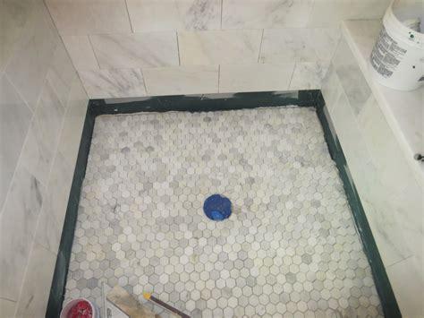 hexagon mosaic tile shower floor marble carrara tile bathroom part 5 installing the shower