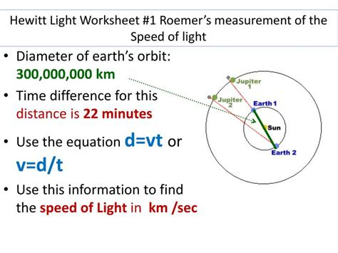 speed of light worksheet ppt days of the week always go to 1 st hour every day