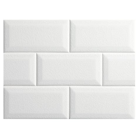 white beveled subway tile bridgehton ceramic collection subway tile white crackle 3 quot x 6 quot beveled