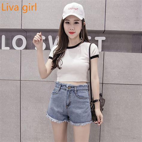 Liva girl 2017 ladies fashion black Korean denim shorts female loose wide leg burr high waist ...