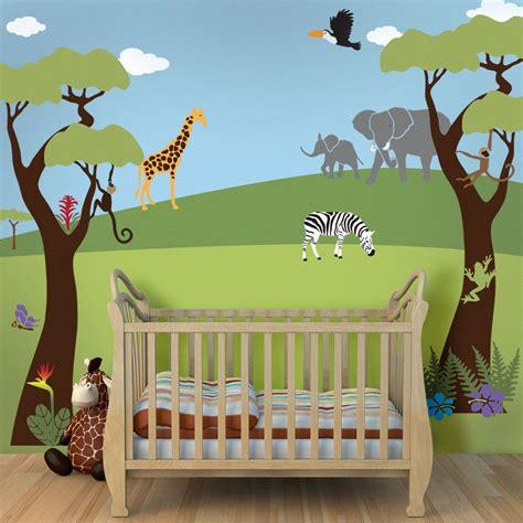 tree mural jungle wall stencils  baby nursery wall
